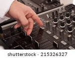 man deejay by mixing music with ... | Shutterstock . vector #215326327