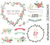 vintage wedding flora heart...   Shutterstock .eps vector #215366143