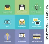 flat icons set of digital...   Shutterstock .eps vector #215368447