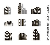 buildings icons vector... | Shutterstock .eps vector #215423353