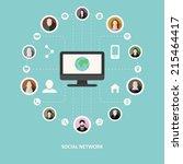 social network concept in flat... | Shutterstock .eps vector #215464417