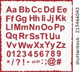 alphabet set  unusual red color ... | Shutterstock . vector #215466043