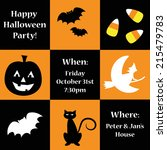 happy halloween party invitation | Shutterstock .eps vector #215479783