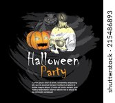 halloween party greeting card ... | Shutterstock .eps vector #215486893