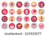 ute newborn flat icons set ... | Shutterstock .eps vector #215525077