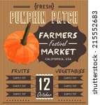 vintage fresh pumpkin patch... | Shutterstock .eps vector #215552683