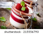 sweet panna cotta with... | Shutterstock . vector #215556793