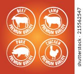 vector badge with cow  lamb ... | Shutterstock .eps vector #215562547