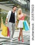 shopping. young beautiful... | Shutterstock . vector #215570023
