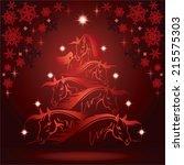 horse lovers christmas tree 4 | Shutterstock .eps vector #215575303
