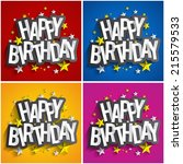happy birthday greeting cards... | Shutterstock .eps vector #215579533