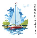 vector illustration of yacht ... | Shutterstock .eps vector #215593357