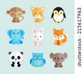 set of different animals icons. ... | Shutterstock .eps vector #215617963