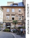 Small photo of KRAKOW, POLAND - SEPTEMBER 07,2014: Doubting Thomas Corner, place in Krakow famous for street cafes and restaurants