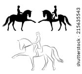 dressage  horse with rider... | Shutterstock .eps vector #215635543