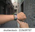 hand wearing ultra slim bent... | Shutterstock . vector #215639737