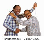 Small photo of Fake friend backstabbing concept. Portrait hypocrite, crafty man gives handshake to a guy at same time trying to stab him in back with knife isolated white background. Human emotion expression feeling