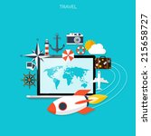world travel concept background.... | Shutterstock .eps vector #215658727