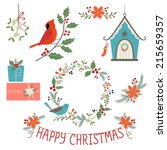 christmas floral decoration ... | Shutterstock .eps vector #215659357