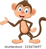 cartoon monkey presenting | Shutterstock . vector #215673697