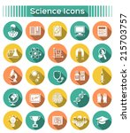 set of round flat icons with... | Shutterstock . vector #215703757