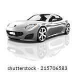 luxury silver 3d sports car