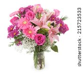 pink flowers bunch in a vase.... | Shutterstock . vector #215723533