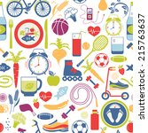 colorful healthy lifestyle... | Shutterstock .eps vector #215763637