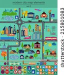 modern city map elements for... | Shutterstock .eps vector #215801083