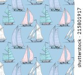 cute boats sailing on sea... | Shutterstock .eps vector #215801917