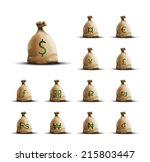 realistic money bags with...