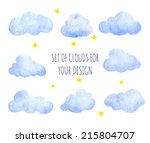 Set Of Watercolor Clouds For...