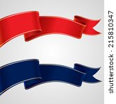 set of red and blue ribbons for ... | Shutterstock .eps vector #215810347