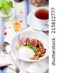 health breakfast. granola with...   Shutterstock . vector #215812777