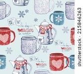 seamless hand drawn tea pattern ... | Shutterstock .eps vector #215846263