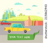 hitchhiking tourism. vector... | Shutterstock .eps vector #215862943