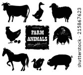 set of farm animals. hand drawn ... | Shutterstock .eps vector #215867623