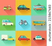 transport flat vector icons. 9... | Shutterstock .eps vector #215867683