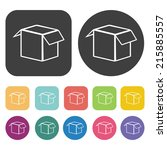 Open cardboard box icons set. Round and rectangle colourful 12 buttons. Vector illustration eps10