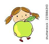 illustration of a little girl... | Shutterstock .eps vector #215886343