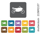 Motorbike icons set. Rectangle colourful 12 buttons. Vector illustration eps10