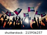 group of people waving flag of... | Shutterstock . vector #215936257