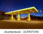 empty gas station with blue... | Shutterstock . vector #215937193