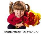 cute little girl with gerbera...   Shutterstock . vector #215964277