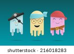three cute cartoon octopuses in ...