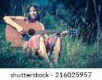 hippy girl   70s style | Shutterstock . vector #216025957