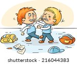 two schoolboys are fighting | Shutterstock .eps vector #216044383