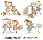 kids engaged in different... | Shutterstock .eps vector #216044497