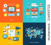 social media and network... | Shutterstock .eps vector #216055723