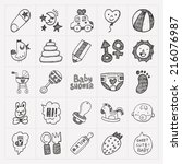 doodle baby icon sets   Shutterstock .eps vector #216076987